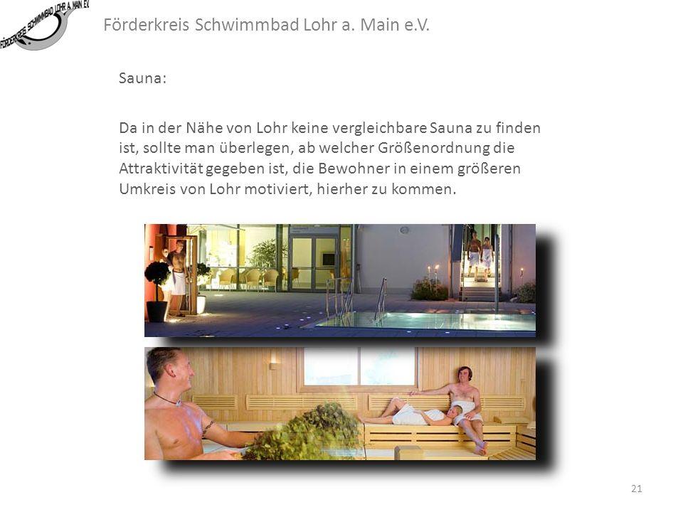 Förderkreis Schwimmbad Lohr a. Main e.V. Sauna: Die Sauna deckt nach Angaben der Betreiber des BULMARE gut 30% der Kosten. Dies ist interessant, da di