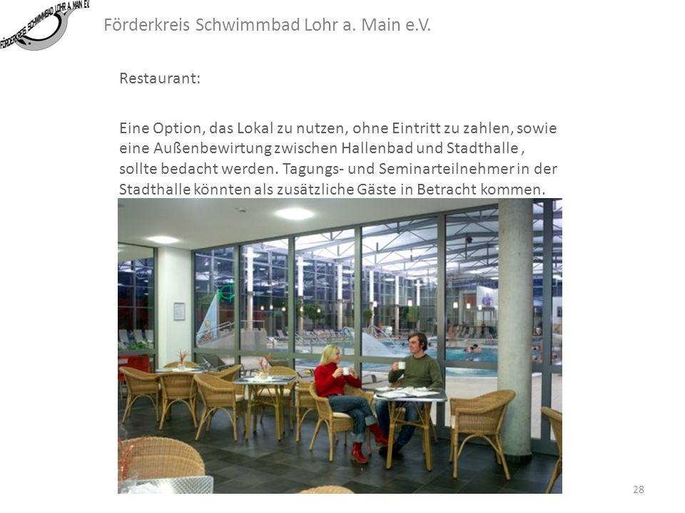 Förderkreis Schwimmbad Lohr a. Main e.V. Restaurant: Eine Möglichkeit, während oder nach dem Schwimmvergnügen in schöner Atmosphäre etwas zu essen ode