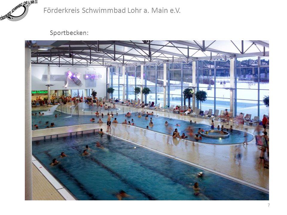 Förderkreis Schwimmbad Lohr a. Main e.V. Sportbecken: In Lohr hat der Arbeitskreis Hallenbad des Stadtrates ein Sportbecken mit 5 Bahnen beschlossen.