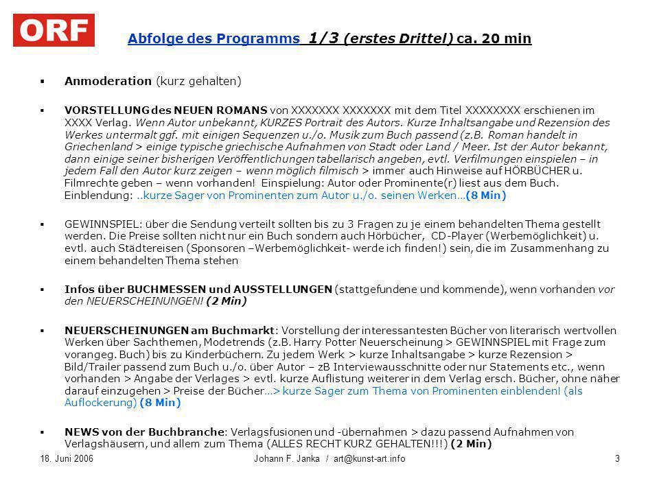 18. Juni 2006Johann F. Janka / art@kunst-art.info3 Abfolge des Programms 1/3 (erstes Drittel) ca. 20 min Anmoderation (kurz gehalten) VORSTELLUNG des