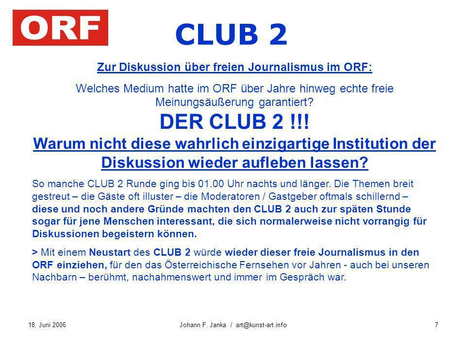 18. Juni 2006Johann F. Janka / art@kunst-art.info7 CLUB 2 Zur Diskussion über freien Journalismus im ORF: Welches Medium hatte im ORF über Jahre hinwe