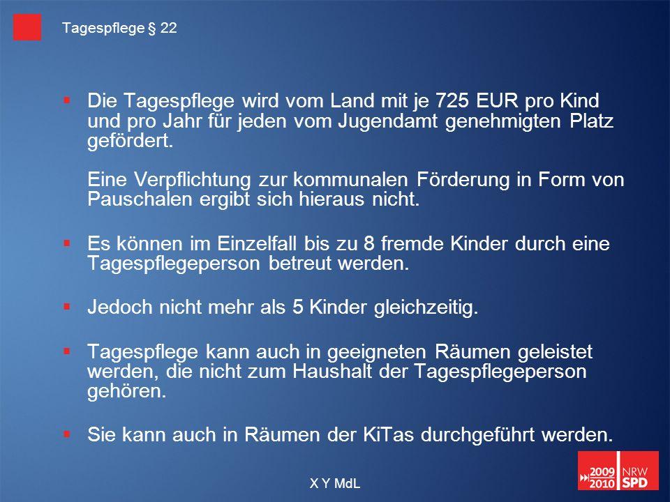 X Y MdL Tagespflege § 22 Die Tagespflege wird vom Land mit je 725 EUR pro Kind und pro Jahr für jeden vom Jugendamt genehmigten Platz gefördert. Eine