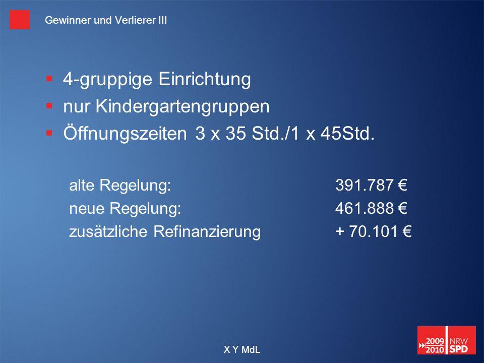X Y MdL Gewinner und Verlierer III 4-gruppige Einrichtung nur Kindergartengruppen Öffnungszeiten 3 x 35 Std./1 x 45Std. alte Regelung: 391.787 neue Re