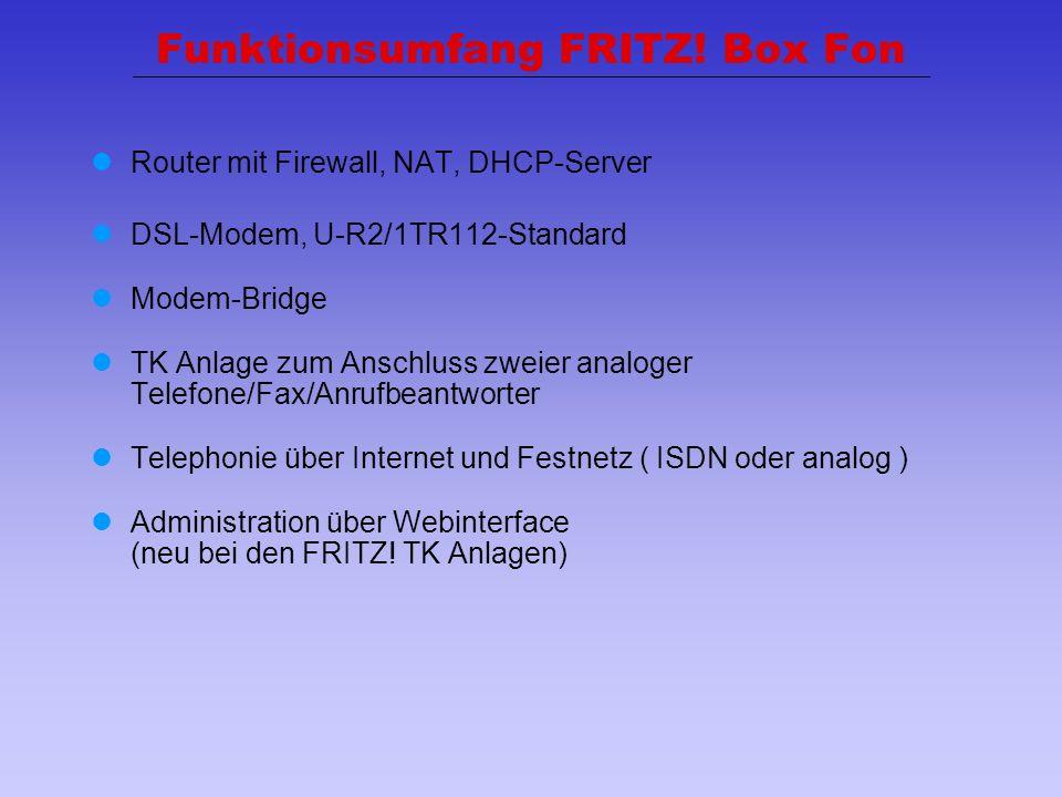 24 Funktionsumfang FRITZ! Box Fon Router mit Firewall, NAT, DHCP-Server DSL-Modem, U-R2/1TR112-Standard Modem-Bridge TK Anlage zum Anschluss zweier an