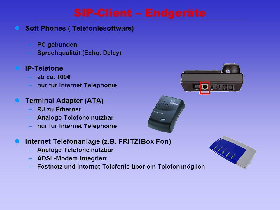 26 Soft Phones ( Telefoniesoftware) –PC gebunden –Sprachqualität (Echo, Delay) IP-Telefone –ab ca. 100 –nur für Internet Telephonie Terminal Adapter (