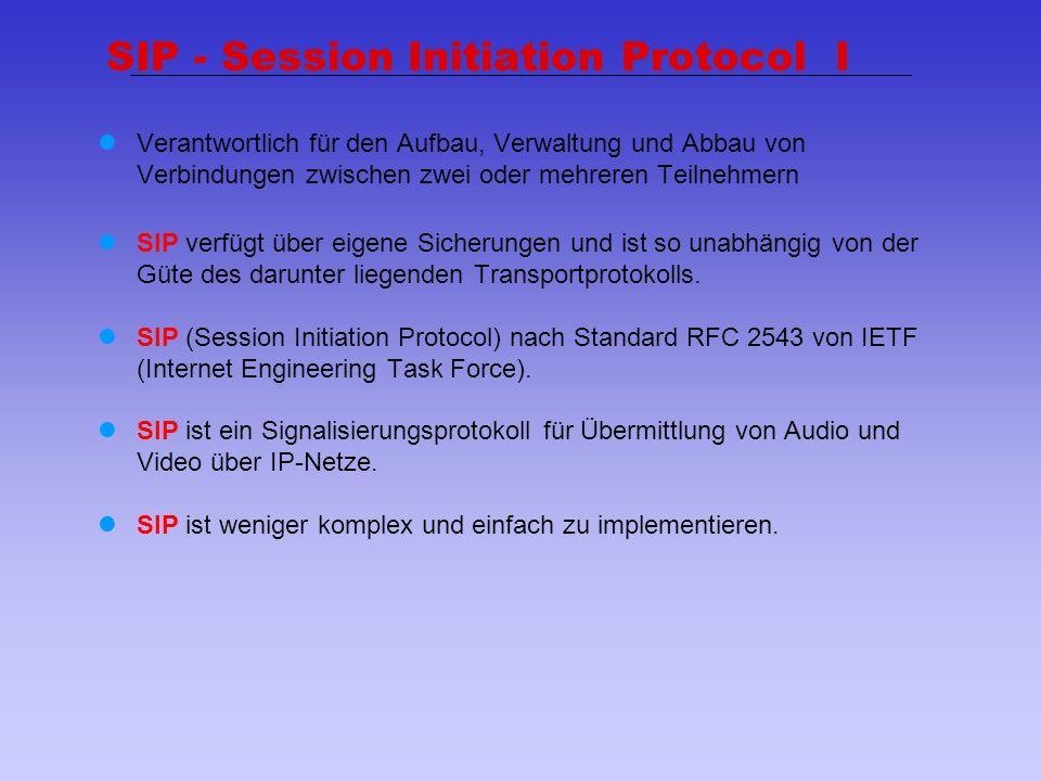 28 SIP - Session Initiation Protocol I Verantwortlich für den Aufbau, Verwaltung und Abbau von Verbindungen zwischen zwei oder mehreren Teilnehmern SI