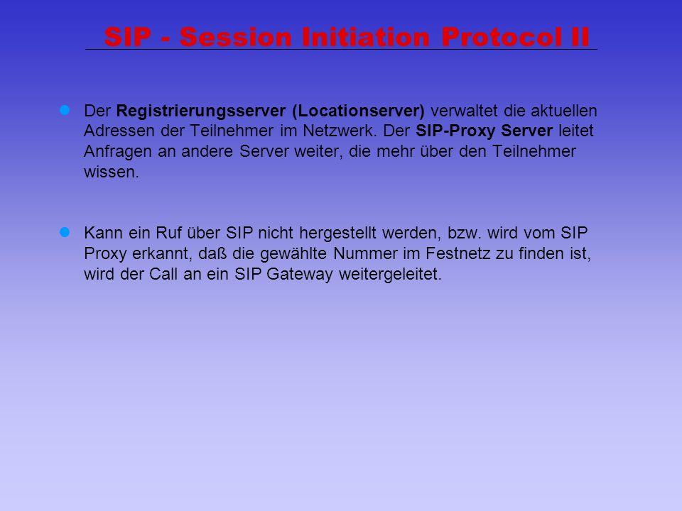 29 SIP - Session Initiation Protocol II Der Registrierungsserver (Locationserver) verwaltet die aktuellen Adressen der Teilnehmer im Netzwerk. Der SIP
