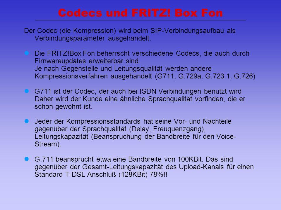 34 Codecs und FRITZ! Box Fon Der Codec (die Kompression) wird beim SIP-Verbindungsaufbau als Verbindungsparameter ausgehandelt. Die FRITZ!Box Fon behe