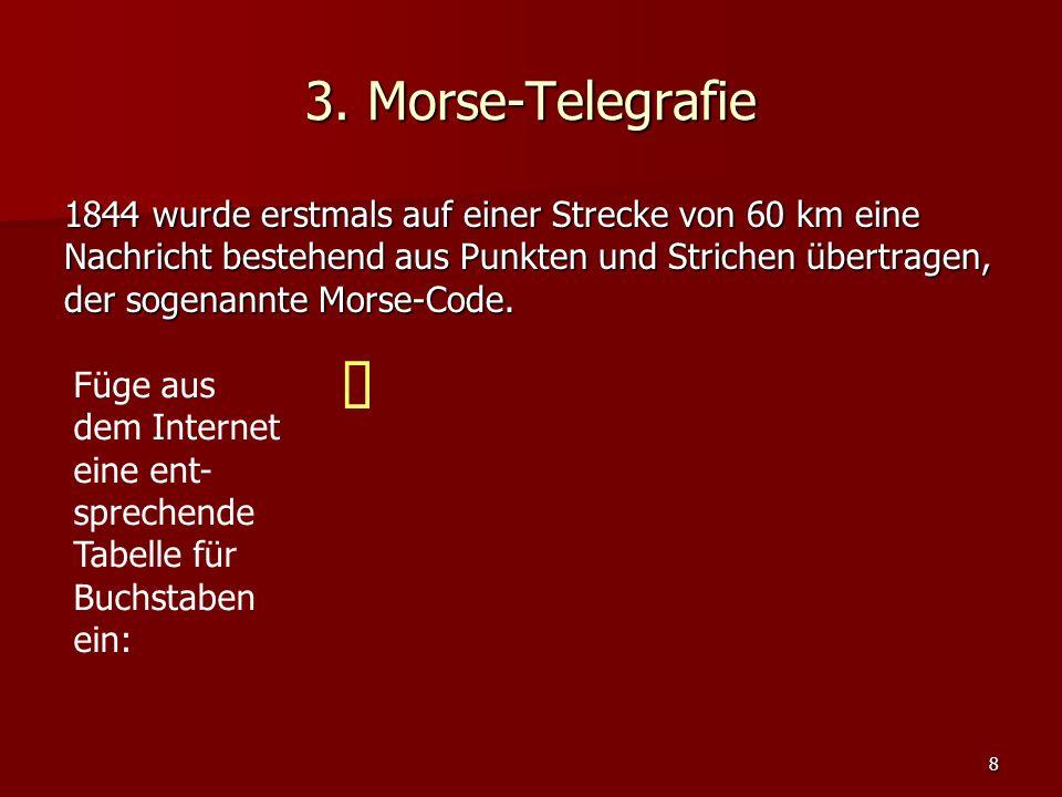 9 3.Morse-Telegrafie Dekodiere folgende Nachricht: ….---..-..-..-----.--.….