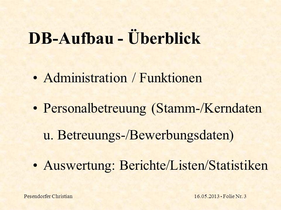 Pesendorfer Christian16.05.2013 - Folie Nr. 4 TAK-Datenbank: Allgemeiner Aufbau