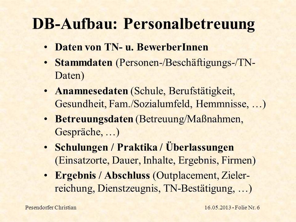 Pesendorfer Christian16.05.2013 - Folie Nr. 6 DB-Aufbau: Personalbetreuung Daten von TN- u. BewerberInnen Stammdaten (Personen-/Beschäftigungs-/TN- Da