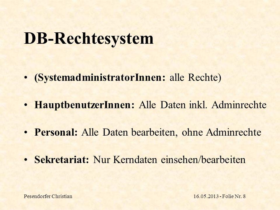 Pesendorfer Christian16.05.2013 - Folie Nr. 8 DB-Rechtesystem (SystemadministratorInnen: alle Rechte) HauptbenutzerInnen: Alle Daten inkl. Adminrechte