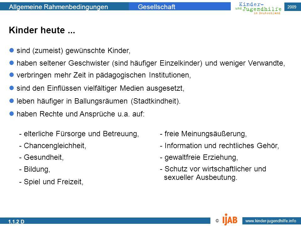 2009 www.kinder-jugendhilfe.info © Allgemeine RahmenbedingungenGesellschaft 1.1.2 D Kinder heute... sind (zumeist) gewünschte Kinder, haben seltener G