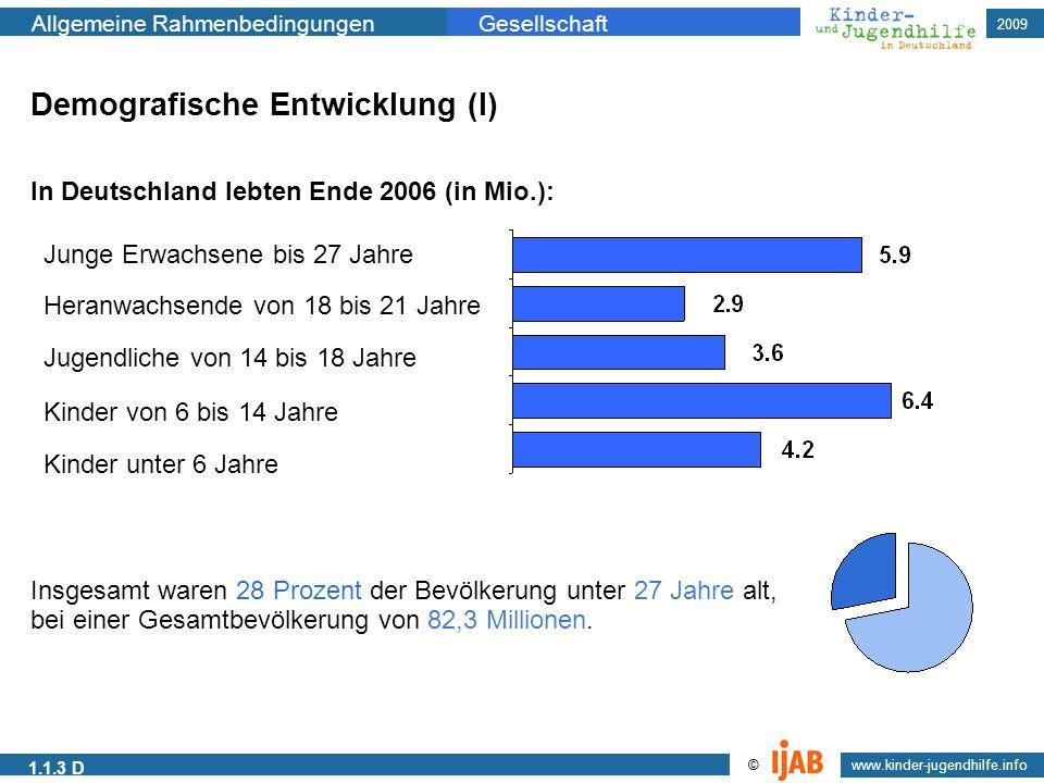 2009 www.kinder-jugendhilfe.info © Allgemeine RahmenbedingungenGesellschaft 1.1.3 D Demografische Entwicklung (I) In Deutschland lebten Ende 2006 (in