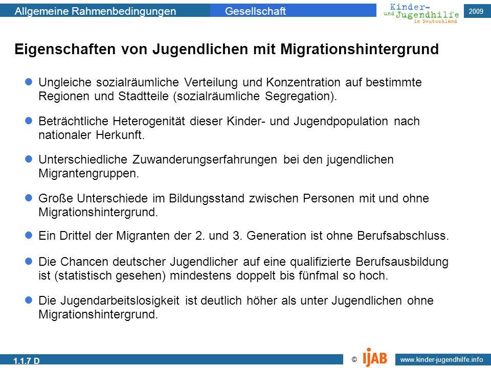 2009 www.kinder-jugendhilfe.info © Allgemeine RahmenbedingungenGesellschaft 1.1.7 D Eigenschaften von Jugendlichen mit Migrationshintergrund Ungleiche