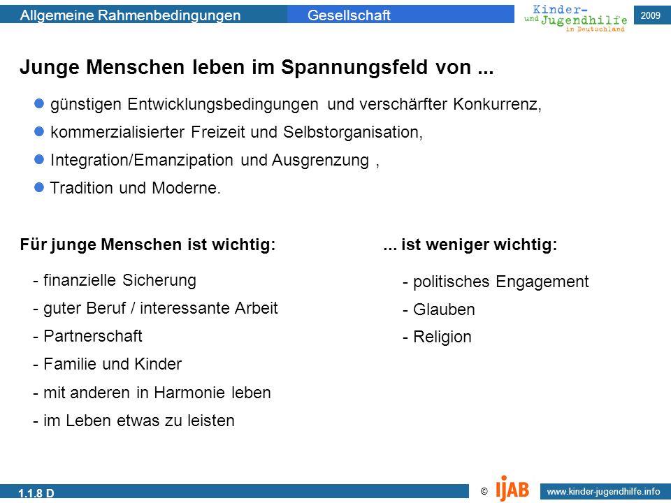 2009 www.kinder-jugendhilfe.info © Allgemeine RahmenbedingungenGesellschaft 1.1.8 D Junge Menschen leben im Spannungsfeld von... günstigen Entwicklung