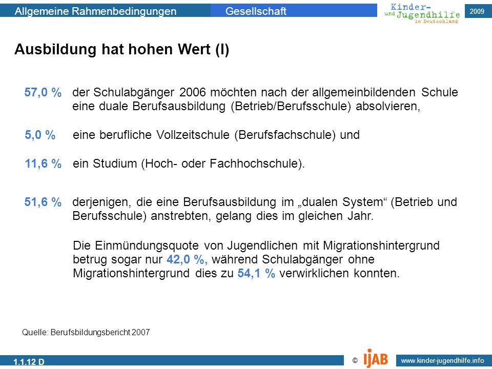 2009 www.kinder-jugendhilfe.info © Allgemeine RahmenbedingungenGesellschaft 1.1.12 D Ausbildung hat hohen Wert (I) 57,0 % der Schulabgänger 2006 möcht