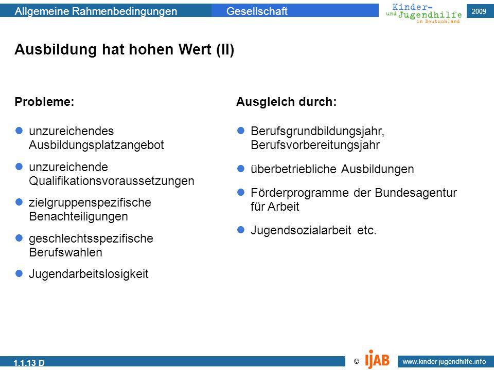 2009 www.kinder-jugendhilfe.info © Allgemeine RahmenbedingungenGesellschaft 1.1.13 D Ausbildung hat hohen Wert (II) Probleme: unzureichendes Ausbildun