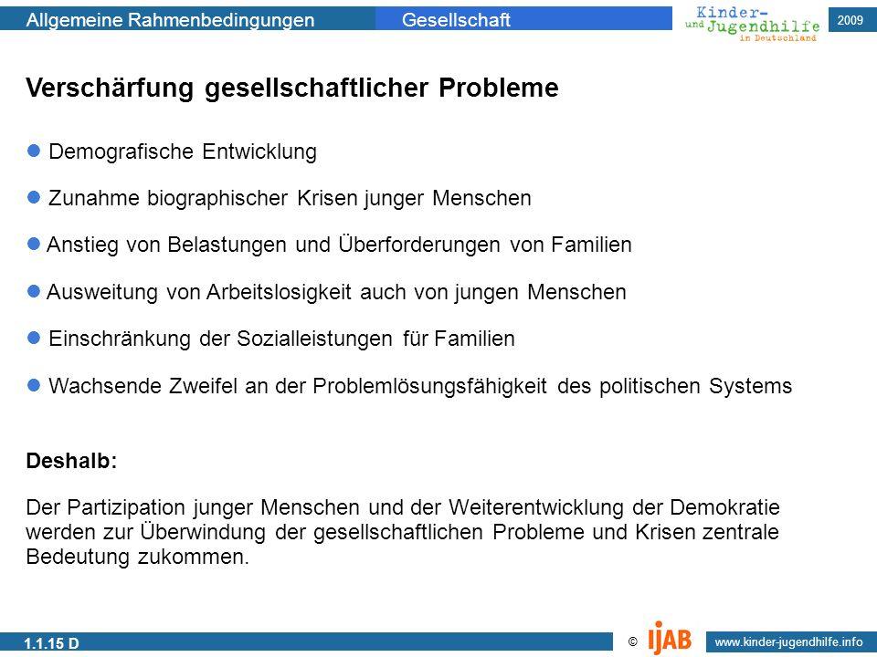 2009 www.kinder-jugendhilfe.info © Allgemeine RahmenbedingungenGesellschaft 1.1.15 D Verschärfung gesellschaftlicher Probleme Demografische Entwicklun