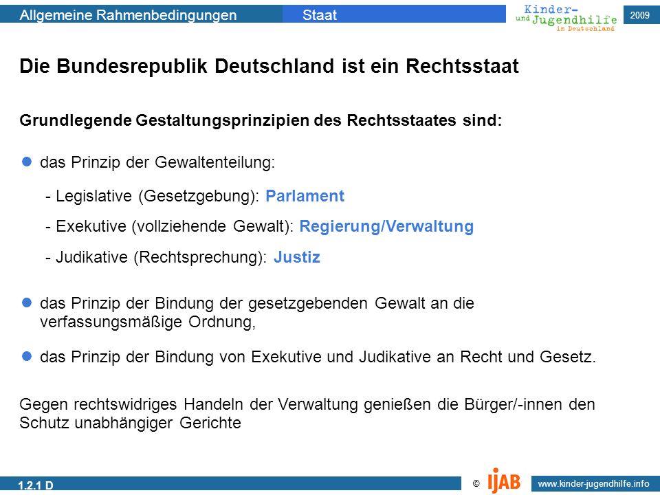 2009 Allgemeine RahmenbedingungenStaat www.kinder-jugendhilfe.info © 1.2.1 D Die Bundesrepublik Deutschland ist ein Rechtsstaat das Prinzip der Bindun