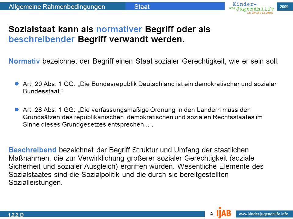 2009 Allgemeine RahmenbedingungenStaat www.kinder-jugendhilfe.info © 1.2.2 D Art. 20 Abs. 1 GG: Die Bundesrepublik Deutschland ist ein demokratischer