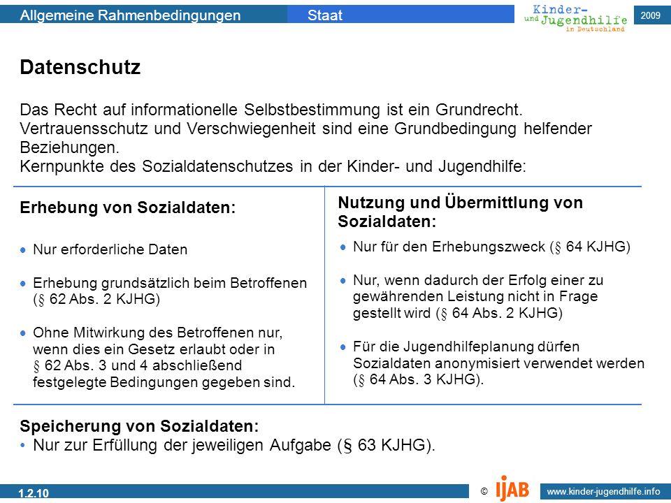 2009 Allgemeine RahmenbedingungenStaat www.kinder-jugendhilfe.info © 1.2.10 Datenschutz Das Recht auf informationelle Selbstbestimmung ist ein Grundre
