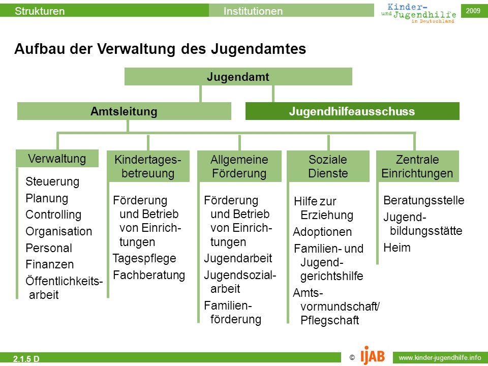 2009 © www.kinder-jugendhilfe.info StrukturenInstitutionen 2.1.5 D Aufbau der Verwaltung des Jugendamtes Jugendamt Amtsleitung Steuerung Planung Contr