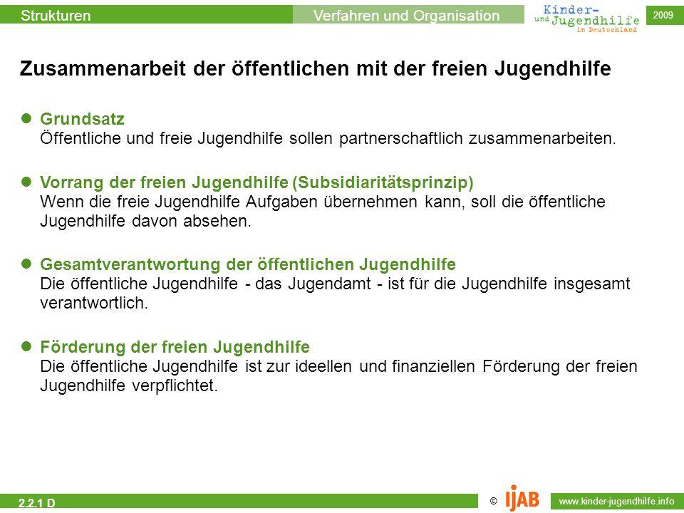 © www.kinder-jugendhilfe.info StrukturenVerfahren und Organisation 2009 2.2.1 D Zusammenarbeit der öffentlichen mit der freien Jugendhilfe Vorrang der