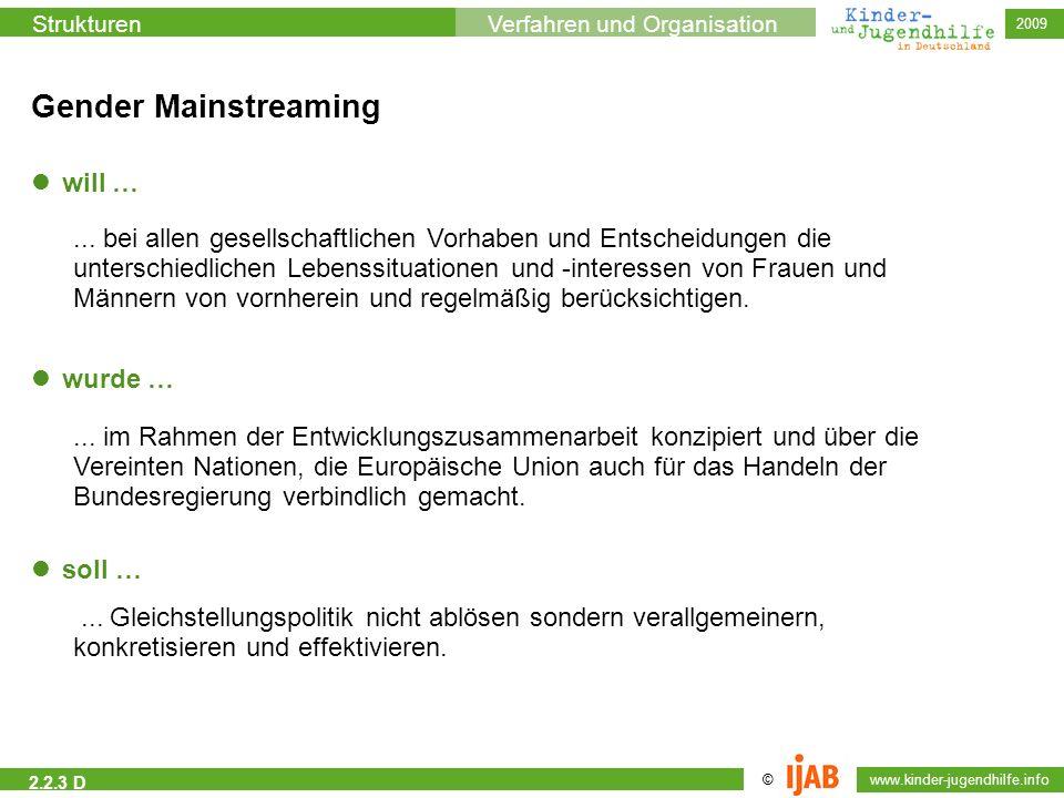 © www.kinder-jugendhilfe.info StrukturenVerfahren und Organisation 2009 2.2.3 D Gender Mainstreaming will … wurde … soll …... bei allen gesellschaftli