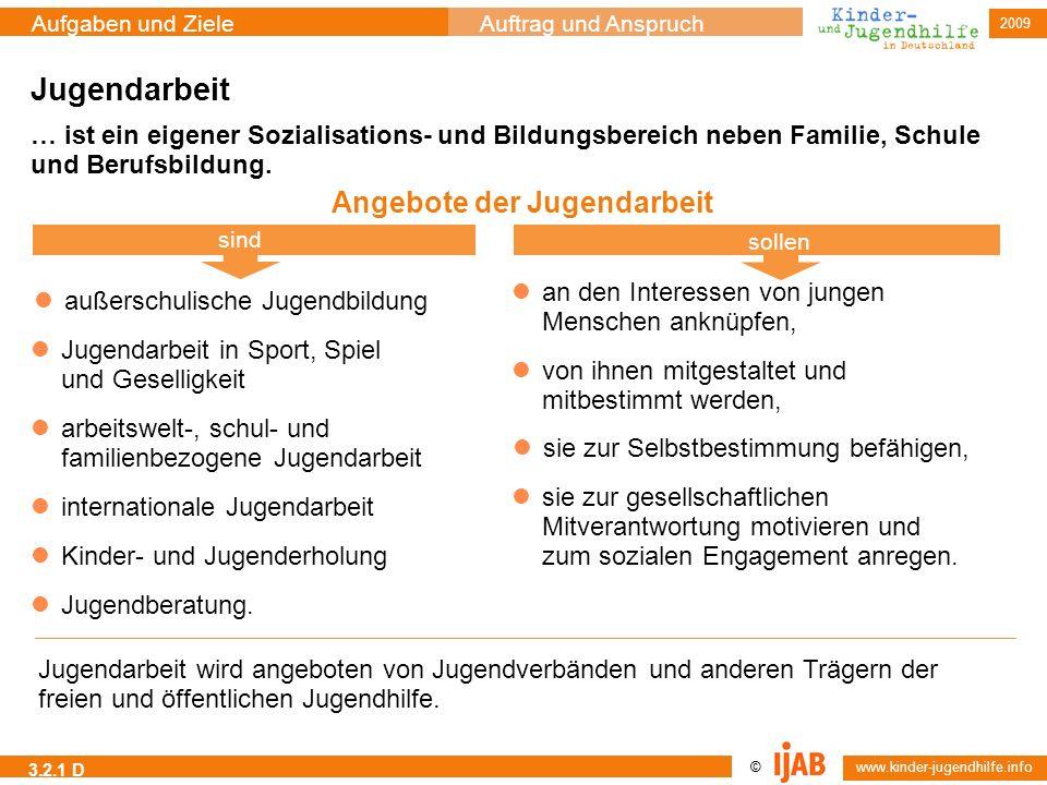 2009 © www.kinder-jugendhilfe.info Aufgaben und ZieleAuftrag und Anspruch 3.2.1 D Jugendarbeit Angebote der Jugendarbeit sind sollen Jugendarbeit wird