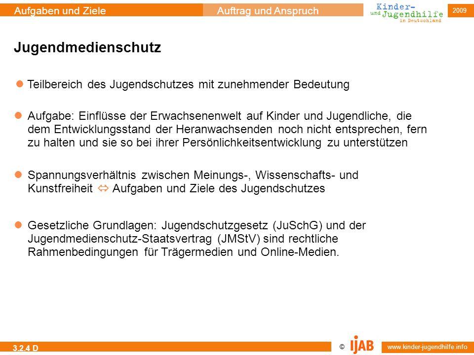 2009 © www.kinder-jugendhilfe.info Aufgaben und ZieleAuftrag und Anspruch 3.2.4 D Jugendmedienschutz Teilbereich des Jugendschutzes mit zunehmender Be