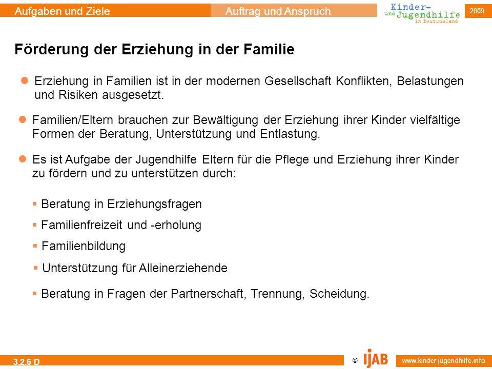 2009 © www.kinder-jugendhilfe.info Aufgaben und ZieleAuftrag und Anspruch 3.2.6 D Förderung der Erziehung in der Familie Erziehung in Familien ist in