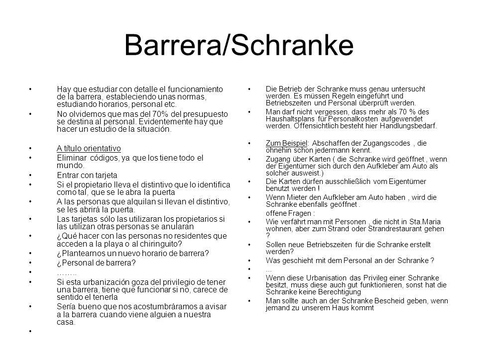 Barrera/Schranke Hay que estudiar con detalle el funcionamiento de la barrera, estableciendo unas normas, estudiando horarios, personal etc. No olvide
