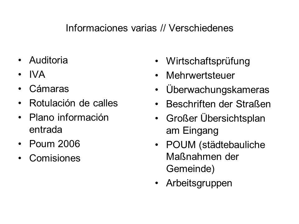Informaciones varias // Verschiedenes Auditoria IVA Cámaras Rotulación de calles Plano información entrada Poum 2006 Comisiones Wirtschaftsprüfung Meh