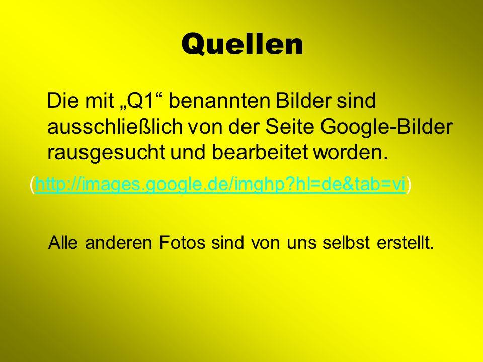 Quellen Die mit Q1 benannten Bilder sind ausschließlich von der Seite Google-Bilder rausgesucht und bearbeitet worden. (http://images.google.de/imghp?