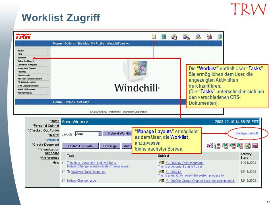 12 TRW Worklist Zugriff Die Worklist enthält User Tasks. Sie ermöglichen dem User, die angezeigten Aktivitäten durchzuführen. (Die Tasks unterscheiden