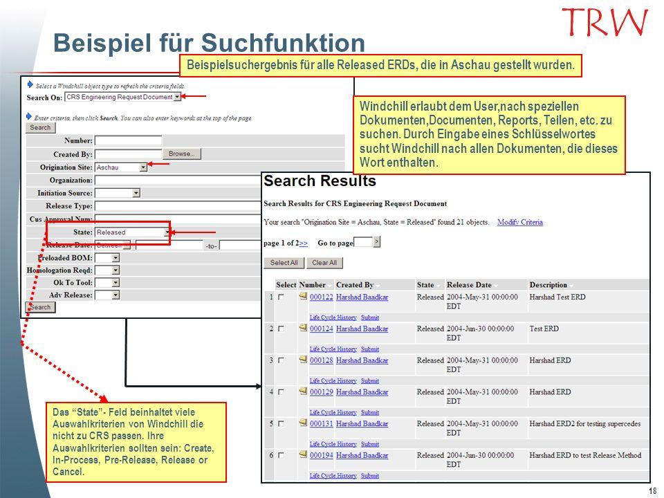 18 TRW Beispiel für Suchfunktion Beispielsuchergebnis für alle Released ERDs, die in Aschau gestellt wurden. Windchill erlaubt dem User,nach spezielle