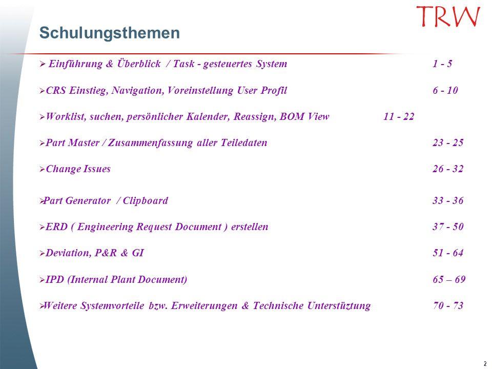 2 TRW Schulungsthemen Einführung & Überblick / Task - gesteuertes System1 - 5 CRS Einstieg, Navigation, Voreinstellung User Profil6 - 10 Worklist, suc