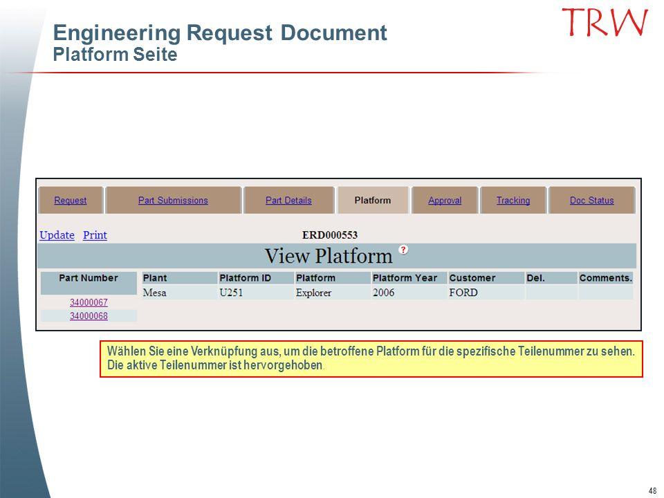 48 TRW Engineering Request Document Platform Seite Wählen Sie eine Verknüpfung aus, um die betroffene Platform für die spezifische Teilenummer zu sehe