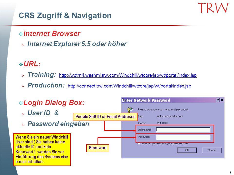 6 TRW CRS Zugriff & Navigation Internet Browser Internet Explorer 5.5 oder höher URL: Training: http://wctrn4.washmi.trw.com/Windchill/wtcore/jsp/wt/p