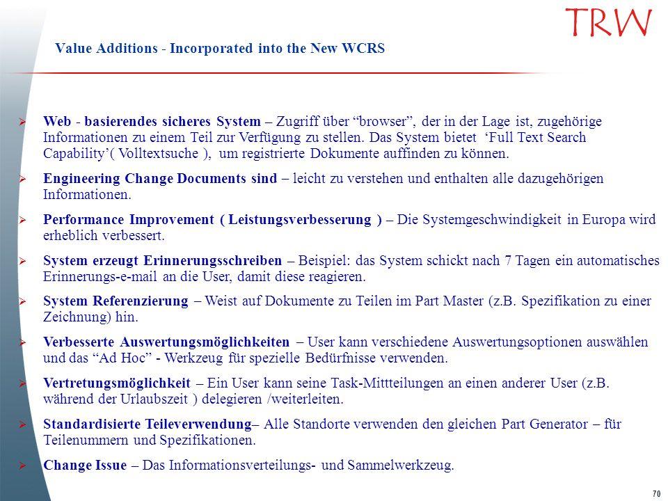 70 TRW Value Additions - Incorporated into the New WCRS Web - basierendes sicheres System – Zugriff über browser, der in der Lage ist, zugehörige Info