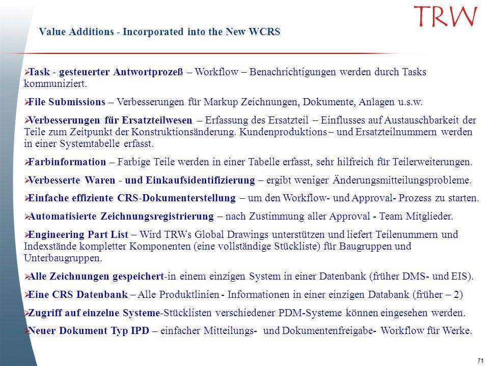 71 TRW Value Additions - Incorporated into the New WCRS Task - gesteuerter Antwortprozeß – Workflow – Benachrichtigungen werden durch Tasks kommunizie
