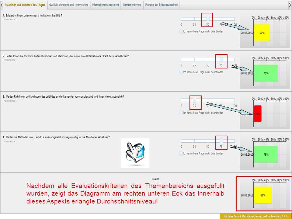 Nachdem alle Evaluationskriterien des Themenbereichs ausgefüllt wurden, zeigt das Diagramm am rechten unteren Eck das innerhalb dieses Aspekts erlangt