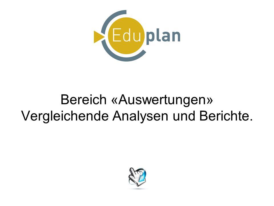 Bereich «Auswertungen» Vergleichende Analysen und Berichte.
