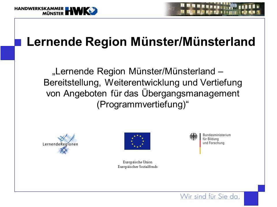 Lernende Region Münster/Münsterland Lernende Region Münster/Münsterland – Bereitstellung, Weiterentwicklung und Vertiefung von Angeboten für das Überg
