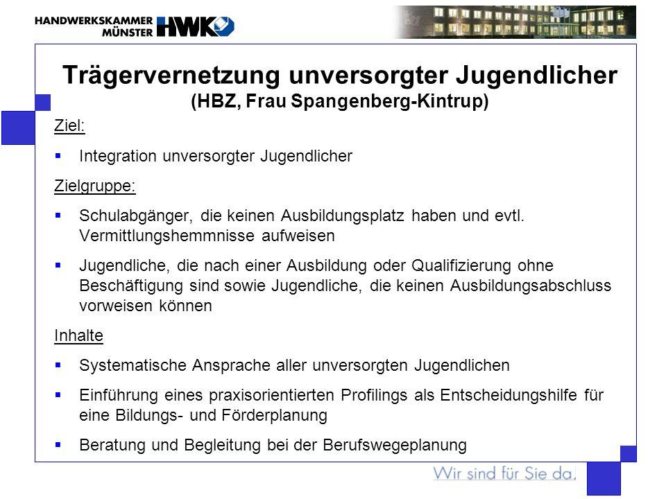 Trägervernetzung unversorgter Jugendlicher (HBZ, Frau Spangenberg-Kintrup) Ziel: Integration unversorgter Jugendlicher Zielgruppe: Schulabgänger, die