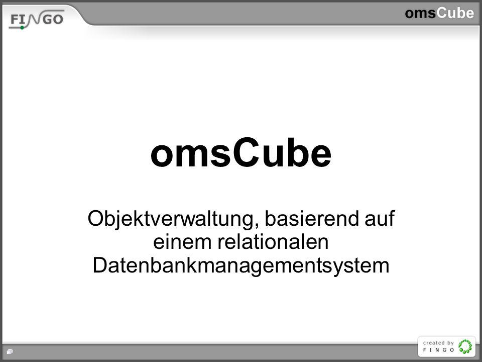 omsCube Objektverwaltung, basierend auf einem relationalen Datenbankmanagementsystem