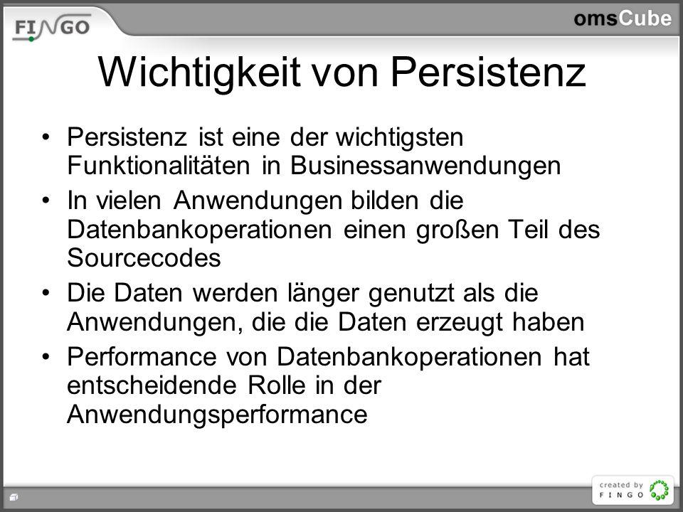 Wichtigkeit von Persistenz Persistenz ist eine der wichtigsten Funktionalitäten in Businessanwendungen In vielen Anwendungen bilden die Datenbankopera
