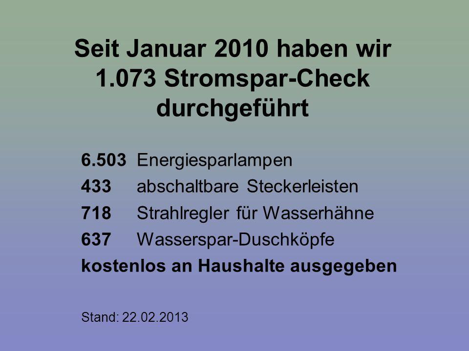 Seit Januar 2010 haben wir 1.073 Stromspar-Check durchgeführt 6.503 Energiesparlampen 433 abschaltbare Steckerleisten 718 Strahlregler für Wasserhähne
