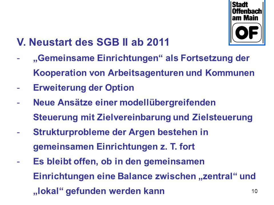 10 V. Neustart des SGB II ab 2011 -Gemeinsame Einrichtungen als Fortsetzung der Kooperation von Arbeitsagenturen und Kommunen -Erweiterung der Option